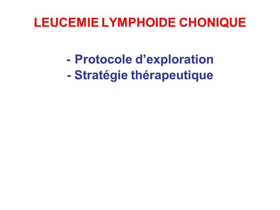 LEUCEMIE LYMPHOIDE CHONIQUE - Protocole dexploration - Stratégie thérapeutique