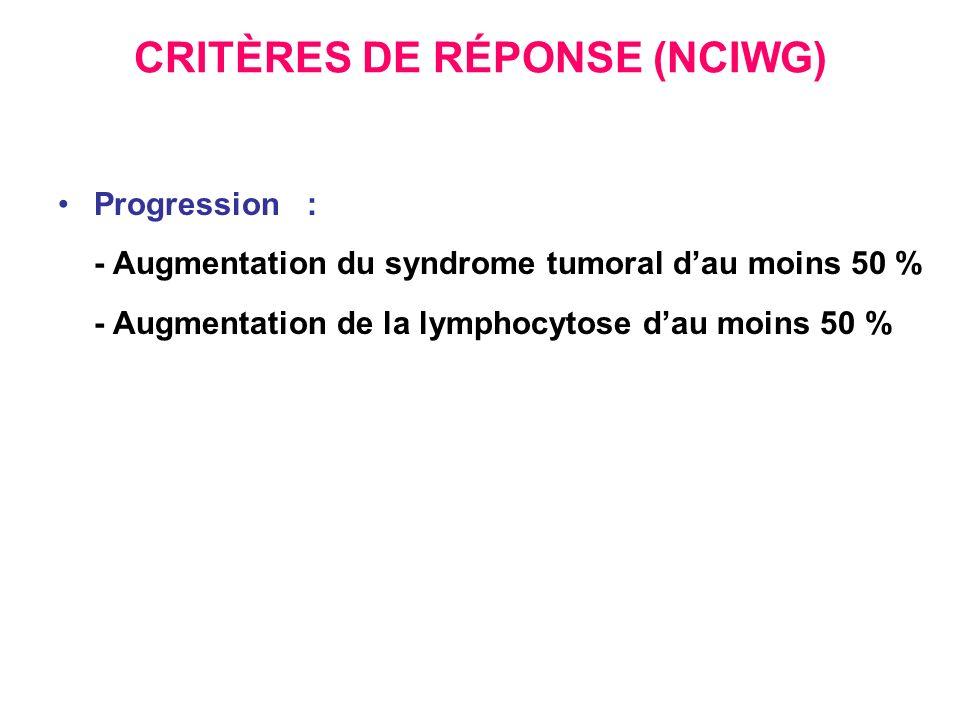 CRITÈRES DE RÉPONSE (NCIWG) Progression : - Augmentation du syndrome tumoral dau moins 50 % - Augmentation de la lymphocytose dau moins 50 %