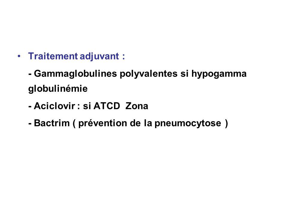 Traitement adjuvant : - Gammaglobulines polyvalentes si hypogamma globulinémie - Aciclovir : si ATCD Zona - Bactrim ( prévention de la pneumocytose )