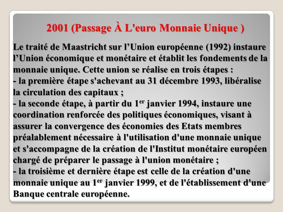 2001 (Passage À L euro Monnaie Unique ) Le traité de Maastricht sur lUnion européenne (1992) instaure lUnion économique et monétaire et établit les fondements de la monnaie unique.