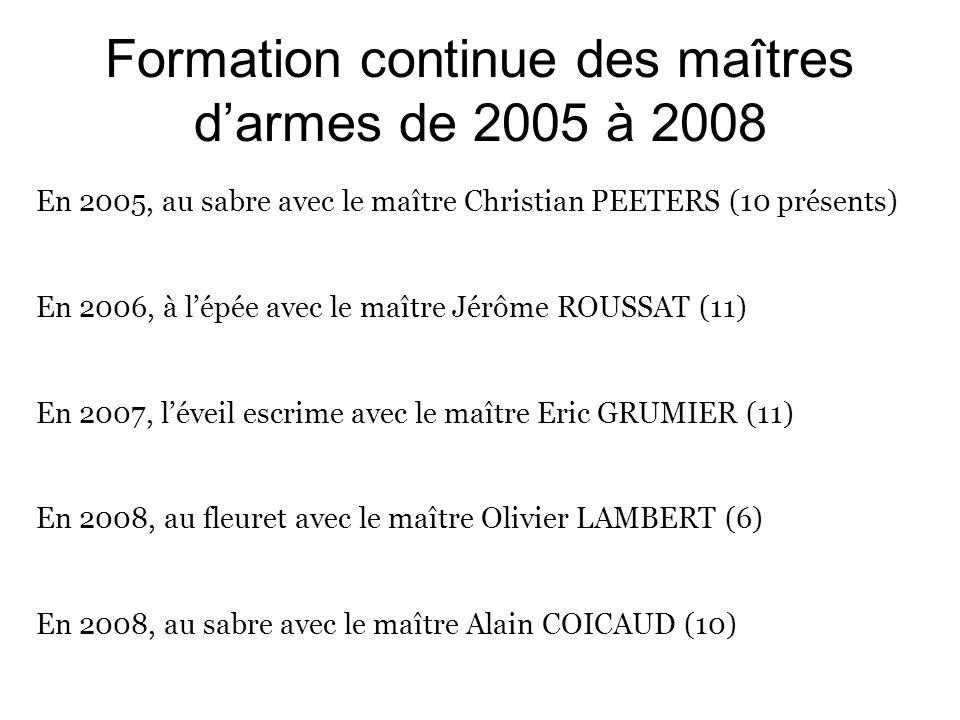 Formation continue des maîtres darmes de 2005 à 2008 En 2005, au sabre avec le maître Christian PEETERS (10 présents) En 2006, à lépée avec le maître Jérôme ROUSSAT (11) En 2007, léveil escrime avec le maître Eric GRUMIER (11) En 2008, au fleuret avec le maître Olivier LAMBERT (6) En 2008, au sabre avec le maître Alain COICAUD (10)