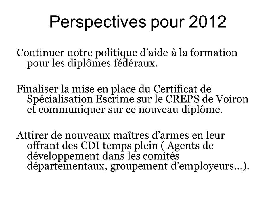Perspectives pour 2012 Continuer notre politique daide à la formation pour les diplômes fédéraux.