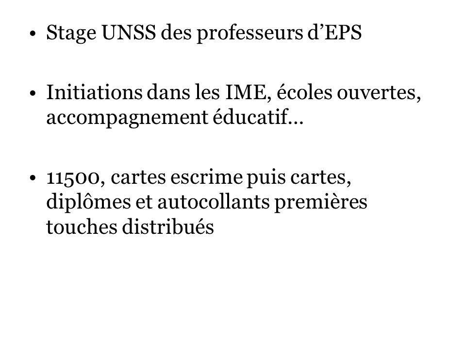 Stage UNSS des professeurs dEPS Initiations dans les IME, écoles ouvertes, accompagnement éducatif… 11500, cartes escrime puis cartes, diplômes et autocollants premières touches distribués
