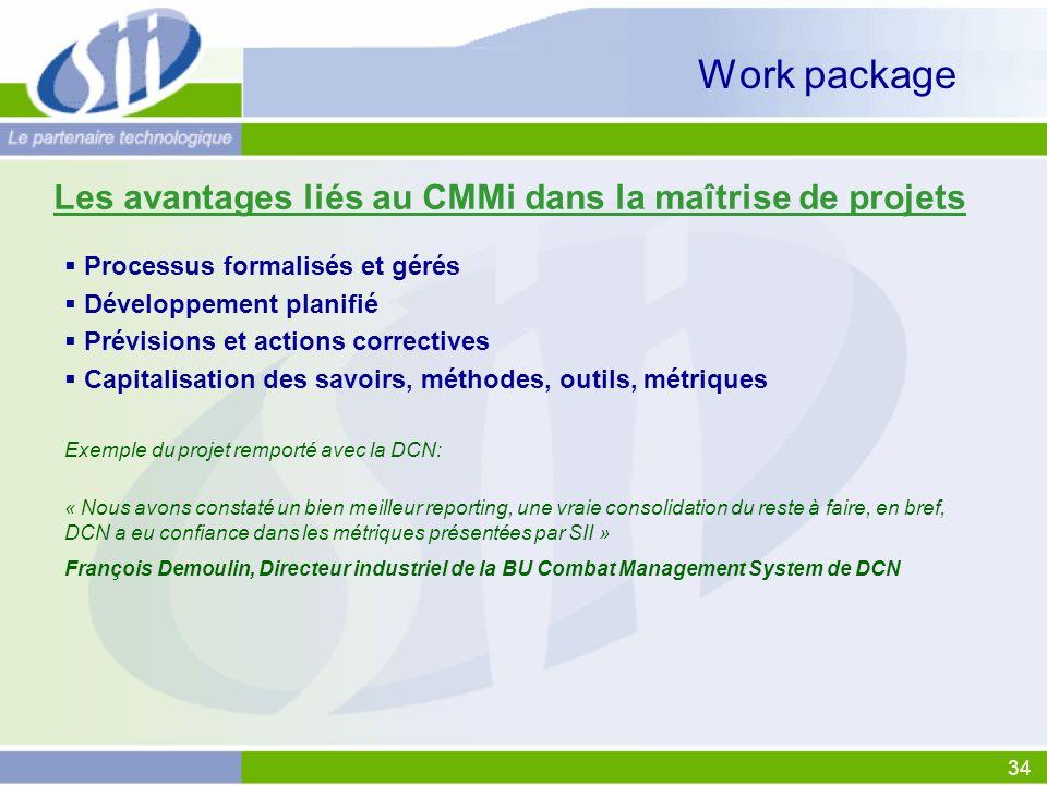34 Work package Processus formalisés et gérés Développement planifié Prévisions et actions correctives Capitalisation des savoirs, méthodes, outils, m