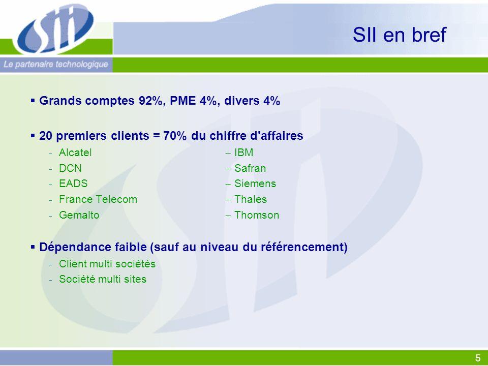 5 SII en bref Grands comptes 92%, PME 4%, divers 4% 20 premiers clients = 70% du chiffre d'affaires Alcatel IBM DCN Safran EADS Siemens France Telecom