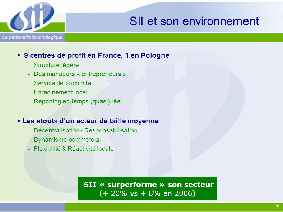 7 SII et son environnement 9 centres de profit en France, 1 en Pologne Structure légère Des managers « entrepreneurs » Service de proximité Enracineme