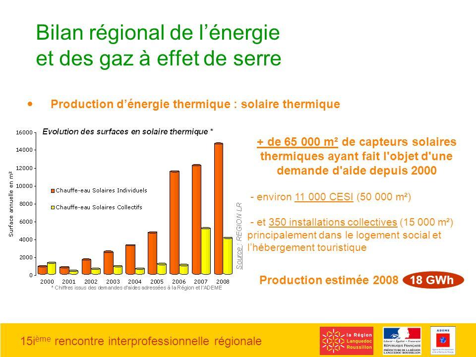 15i ème rencontre interprofessionnelle régionale Production dénergie thermique : solaire thermique Bilan régional de lénergie et des gaz à effet de se