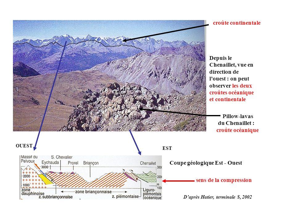 Depuis le Chenaillet, vue en direction de louest : on peut observer les deux croûtes océanique et continentale Pillow-lavas du Chenaillet : croûte océ