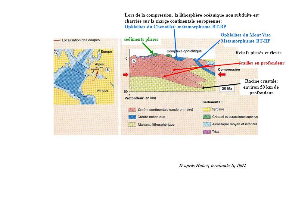 Ophiolites du Mont Viso Métamorphisme BT-HP Lors de la compression, la lithosphère océanique non subduite est charriée sur la marge continentale européenne: Ophiolites du Chenaillet: métamorphisme BT-BP sédiments plissés écailles en profondeur Reliefs plissés et élevés Racine crustale: environ 50 km de profondeur Daprès Hatier, terminale S, 2002