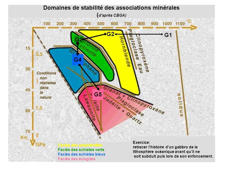 G1 G2 G3 G4 G5 Domaines de stabilité des associations minérales ( daprès CBGA) Faciès des amphibolites Faciès des schistes verts Faciès des schistes bleus Faciès des éclogites Exercice: retracer lhistoire dun gabbro de la lithosphère océanique avant quil ne soit subduit puis lors de son enfoncement.
