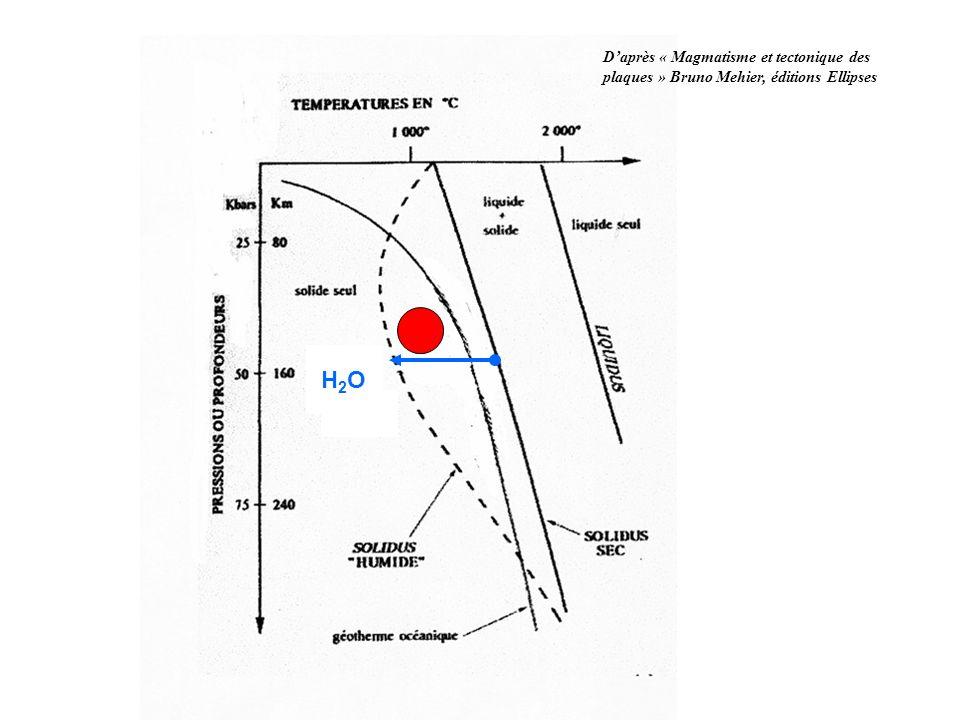 Transformations de la lithosphère océanique à proximité de la dorsale Transformations de la lithosphère océanique dans les zones de subduction Schéma bilan Roches magmatiques de la lithosphère océanique: gabbro G1 Roches magmatiques Fusion partielle du manteau Métamorphisme hydrothermal: G2 roches métamorphiques de la lithosphère océanique non subduite schistes verts schistes bleus éclogites G3 G4 G5 Roches océaniques de la lithosphère océanique en subduction départ dH 2 O H2OH2OH2OH2O P° T° pyroxène chlorite grenat amphibole hornblende actinote ou glaucophane jadéite feldspath plagioclase amphibole verte (amphibole bleue) Associations minérales