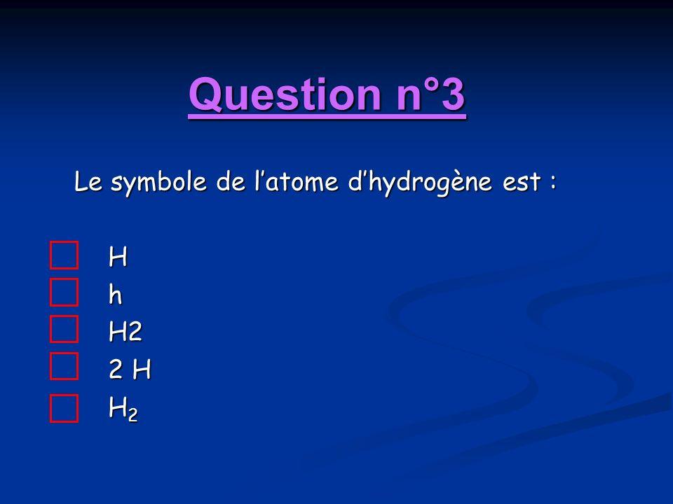 Question n°3 Le symbole de latome dhydrogène est : HhH2 2 H H 2
