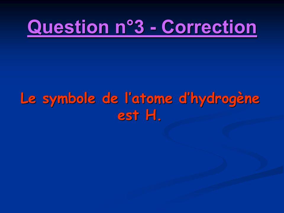 Question n°3 - Correction Le symbole de latome dhydrogène est H.