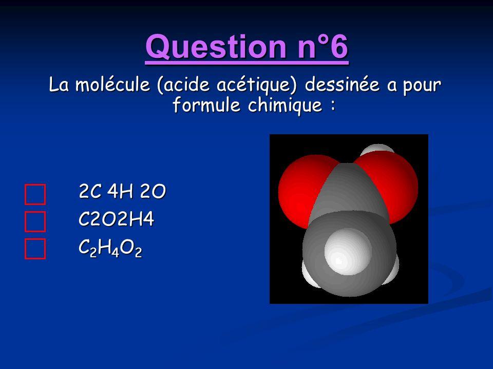 Question n°6 La molécule (acide acétique) dessinée a pour formule chimique : 2C 4H 2O C2O2H4 C 2 H 4 O 2