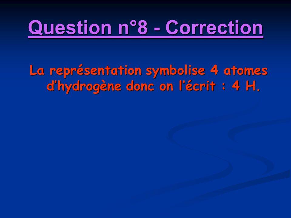 Question n°8 - Correction La représentation symbolise 4 atomes dhydrogène donc on lécrit : 4 H.