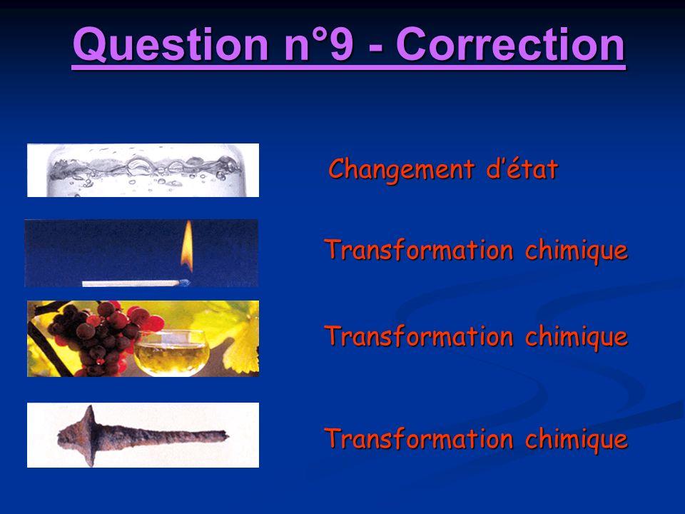 Changement détat Transformation chimique Question n°9 - Correction