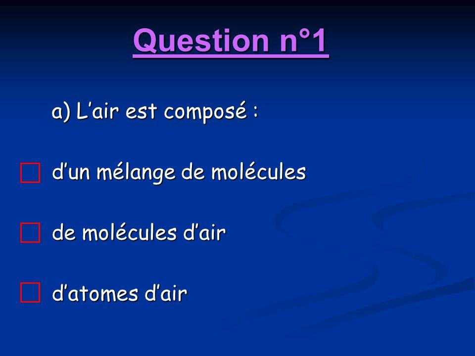 Question n°1 a) Lair est composé : dun mélange de molécules de molécules dair datomes dair