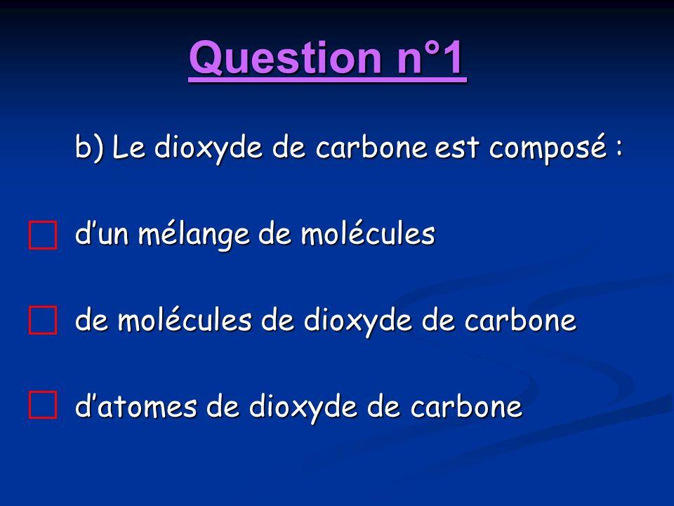 Question n°1 b) Le dioxyde de carbone est composé : dun mélange de molécules de molécules de dioxyde de carbone datomes de dioxyde de carbone