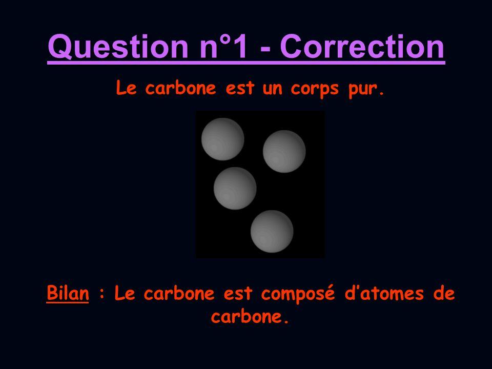 Question n°1 - Correction Bilan : Le carbone est composé datomes de carbone. Le carbone est un corps pur.