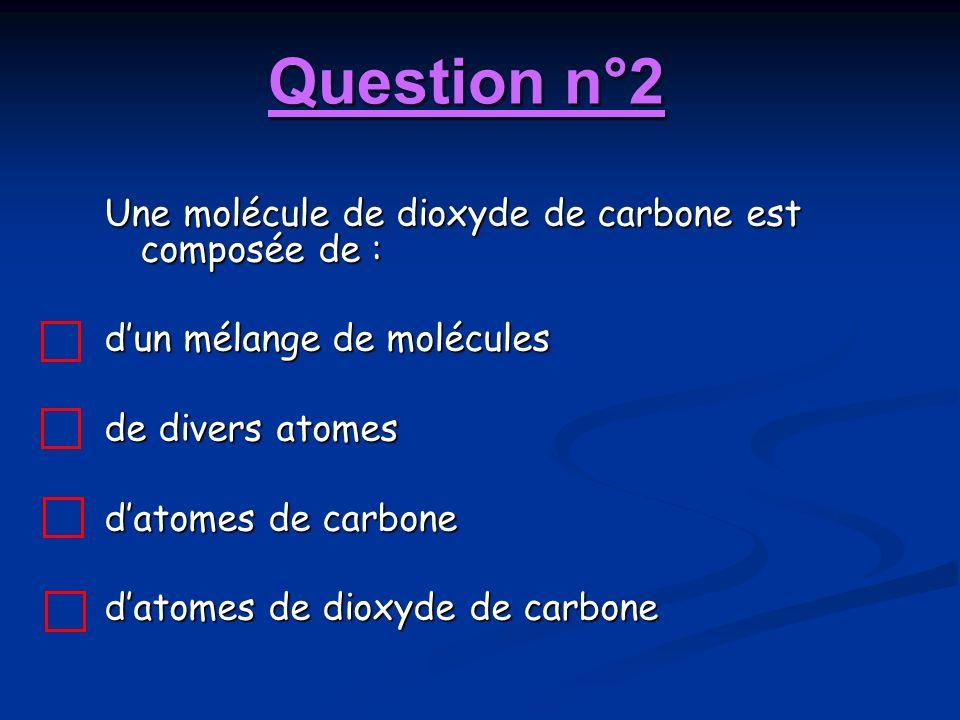 Question n°2 Une molécule de dioxyde de carbone est composée de : dun mélange de molécules de divers atomes datomes de carbone datomes de dioxyde de c