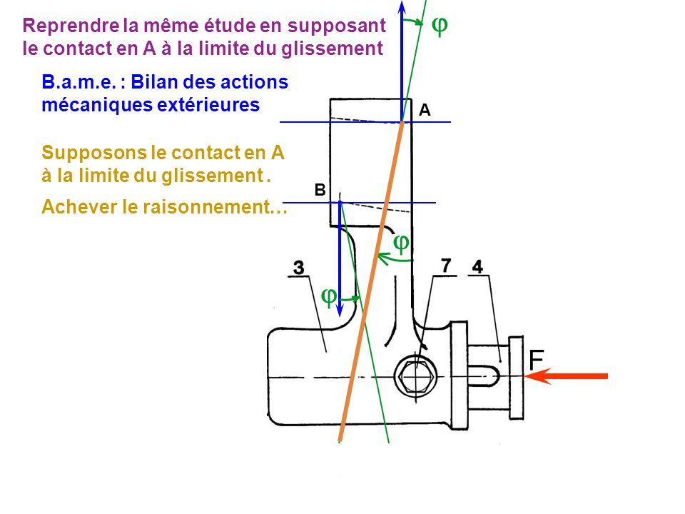 F A B Supposons le contact en A à la limite du glissement. Achever le raisonnement… B.a.m.e. : Bilan des actions mécaniques extérieures Reprendre la m