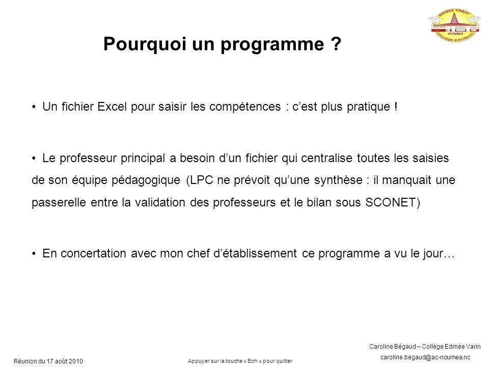 Caroline Bégaud – Collège Edmée Varin caroline.begaud@ac-noumea.nc Réunion du 17 août 2010 Pourquoi un programme .
