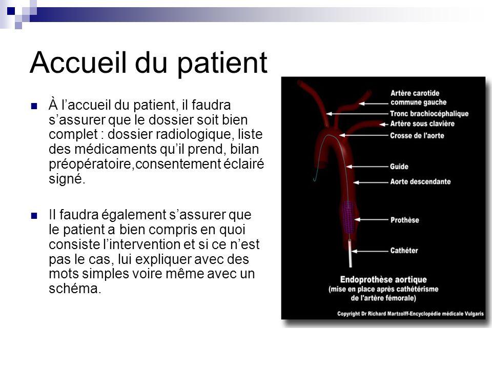 Accueil du patient À laccueil du patient, il faudra sassurer que le dossier soit bien complet : dossier radiologique, liste des médicaments quil prend