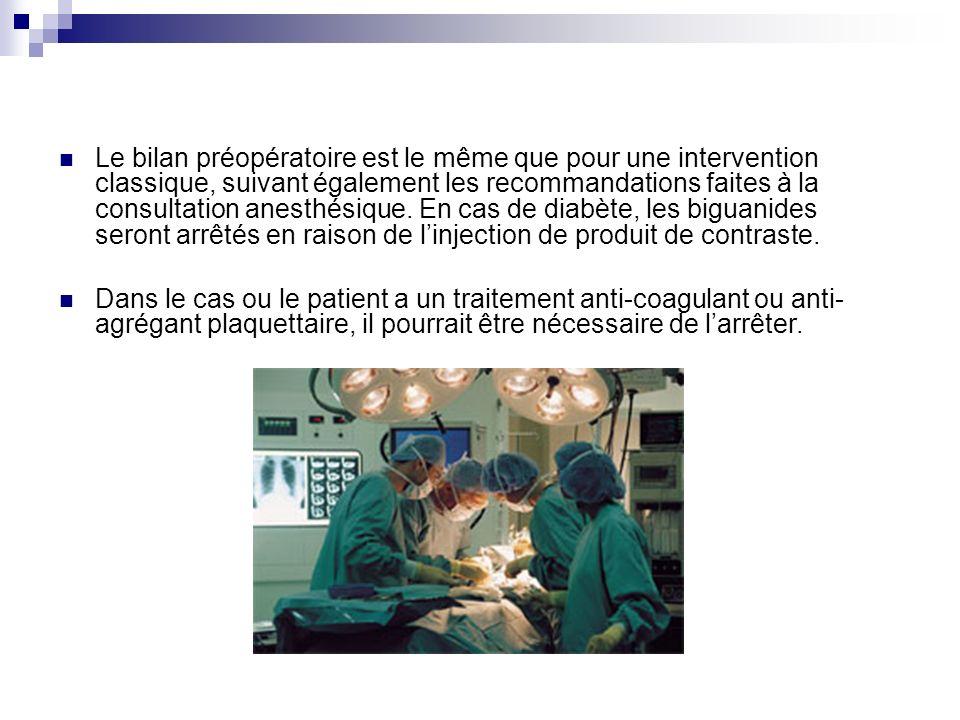 Le bilan préopératoire est le même que pour une intervention classique, suivant également les recommandations faites à la consultation anesthésique. E