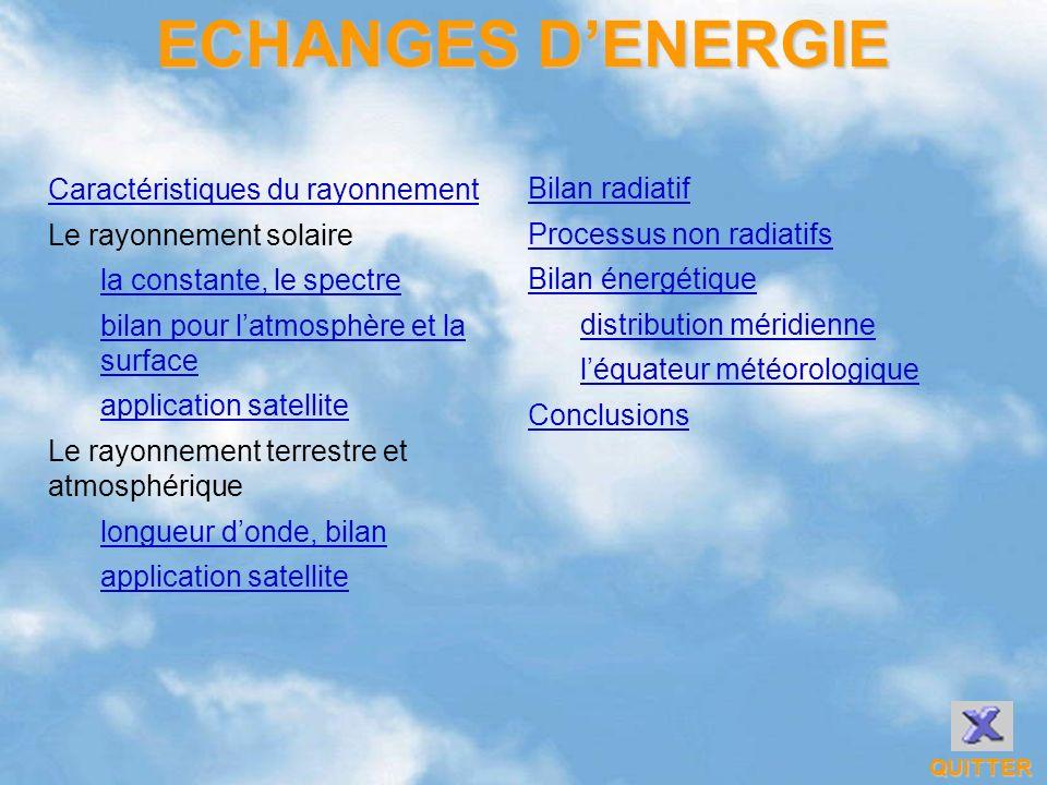 Bilan radiatif Processus non radiatifs Bilan énergétique distribution méridienne léquateur météorologique Conclusions Caractéristiques du rayonnement