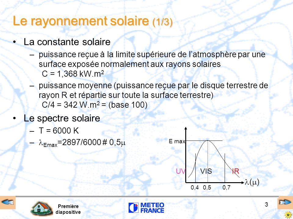 Première diapositive 3 La constante solaire –puissance reçue à la limite supérieure de latmosphère par une surface exposée normalement aux rayons sola