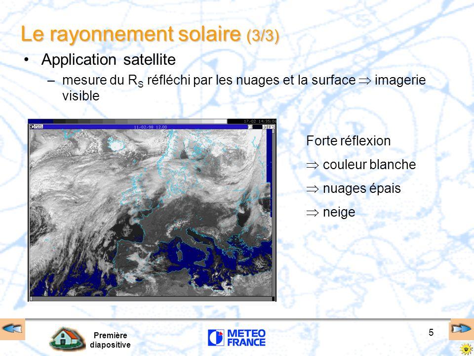 Première diapositive 5 Le rayonnement solaire (3/3) Application satellite –mesure du R S réfléchi par les nuages et la surface imagerie visible Forte