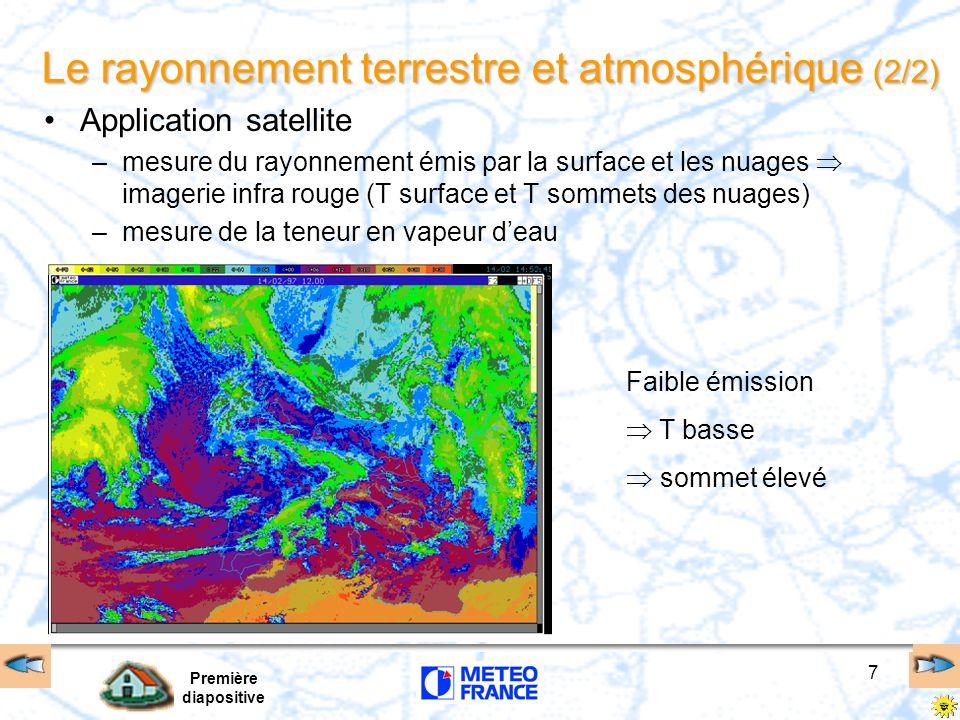 Première diapositive 7 Le rayonnement terrestre et atmosphérique (2/2) Application satellite –mesure du rayonnement émis par la surface et les nuages