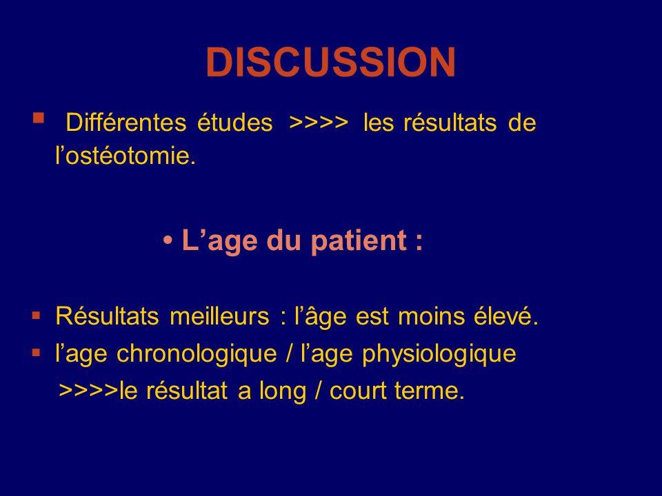 Différentes études >>>> les résultats de lostéotomie. Lage du patient : Résultats meilleurs : lâge est moins élevé. lage chronologique / lage physiolo