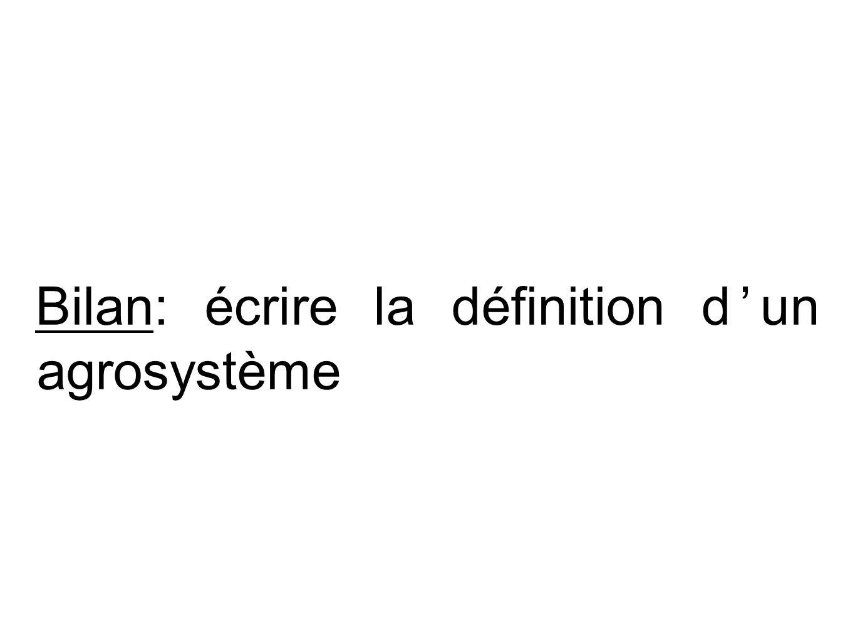 Bilan: écrire la définition dun agrosystème