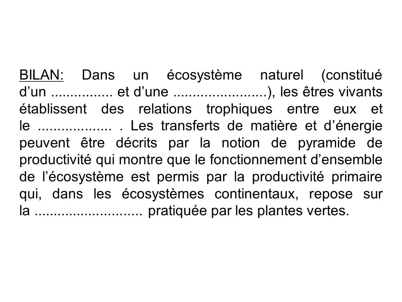 BILAN: Dans un écosystème naturel (constitué dun................