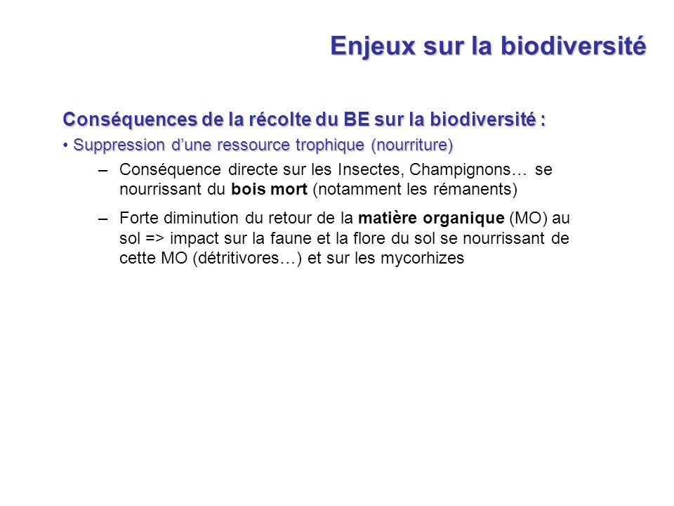 Enjeux sur la biodiversité Conséquences de la récolte du BE sur la biodiversité : Suppression dune ressource trophique (nourriture) –Conséquence direc