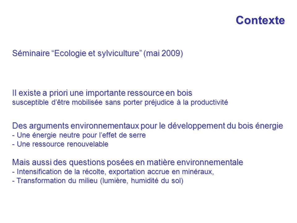 Contexte Séminaire Ecologie et sylviculture (mai 2009) Il existe a priori une importante ressource en bois susceptible dêtre mobilisée sans porter pré