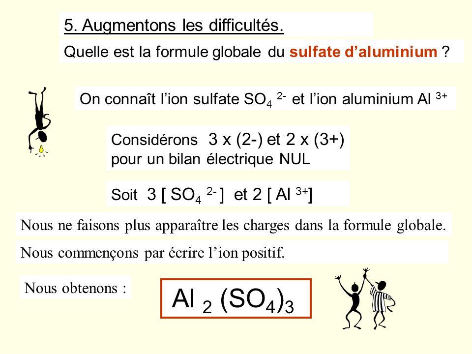 Quelle est la formule globale du sulfate daluminium ? 5. Augmentons les difficultés. Considérons 3 x (2-) et 2 x (3+) pour un bilan électrique NUL On