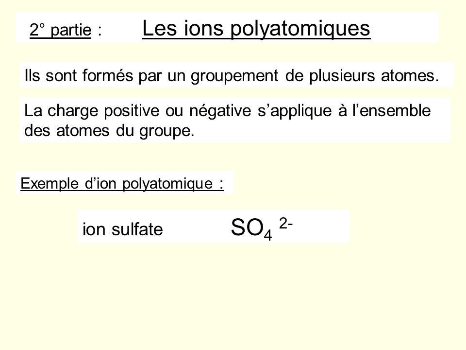 2° partie : Les ions polyatomiques Ils sont formés par un groupement de plusieurs atomes. La charge positive ou négative sapplique à lensemble des ato
