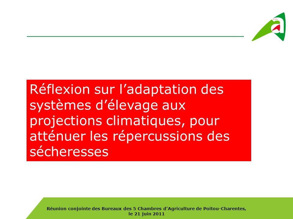 Réunion conjointe des Bureaux des 5 Chambres dAgriculture de Poitou-Charentes, le 21 juin 2011 Réflexion sur ladaptation des systèmes délevage aux projections climatiques, pour atténuer les répercussions des sécheresses