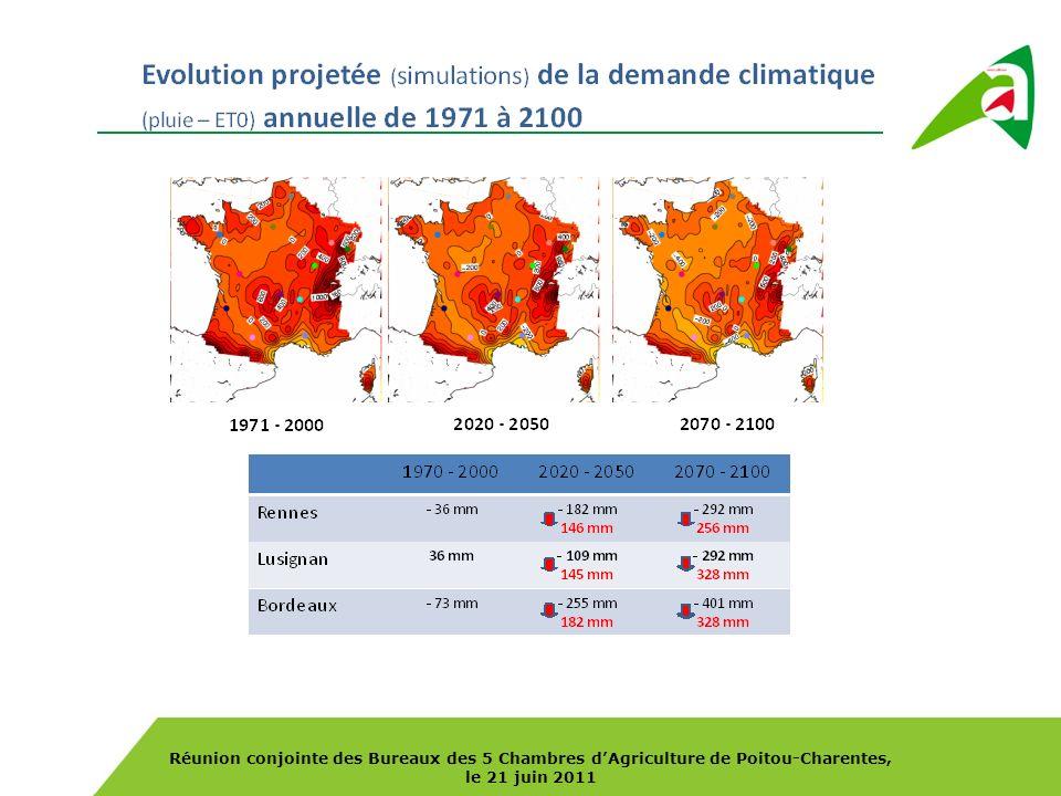 Réunion conjointe des Bureaux des 5 Chambres dAgriculture de Poitou-Charentes, le 21 juin 2011