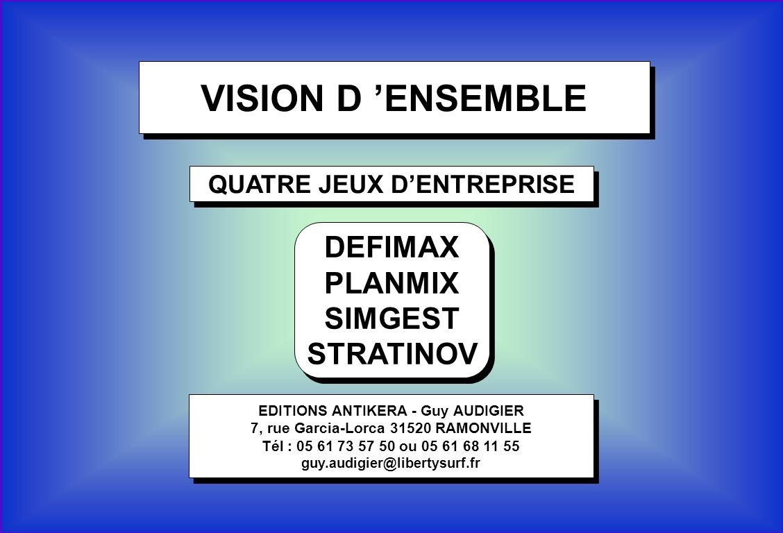 1 VISION D ENSEMBLE QUATRE JEUX DENTREPRISE EDITIONS ANTIKERA - Guy AUDIGIER 7, rue Garcia-Lorca 31520 RAMONVILLE Tél : 05 61 73 57 50 ou 05 61 68 11