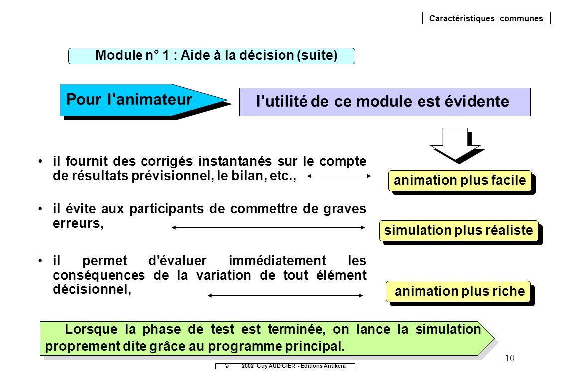 10 il fournit des corrigés instantanés sur le compte de résultats prévisionnel, le bilan, etc., Pour l'animateur l'utilité de ce module est évidente a