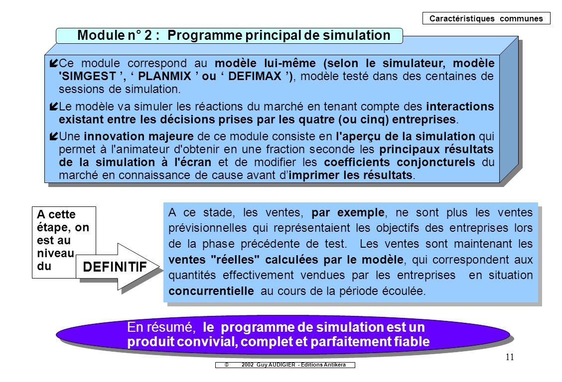 11 íCe module correspond au modèle lui-même (selon le simulateur, modèle 'SIMGEST, PLANMIX ou DEFIMAX ), modèle testé dans des centaines de sessions d