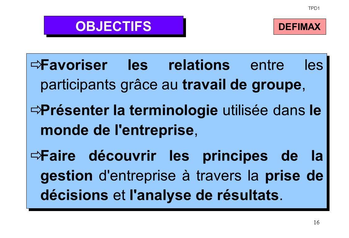 16 Favoriser les relations entre les participants grâce au travail de groupe, Présenter la terminologie utilisée dans le monde de l'entreprise, Faire