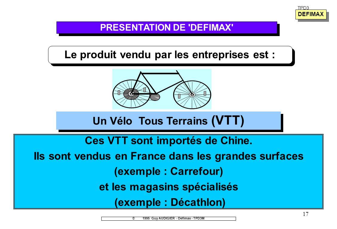 17 TPD3 Le produit vendu par les entreprises est : Un Vélo Tous Terrains (VTT) ©1995 Guy AUDIGIER - Défimax - TPD3M PRESENTATION DE 'DEFIMAX' Ces VTT