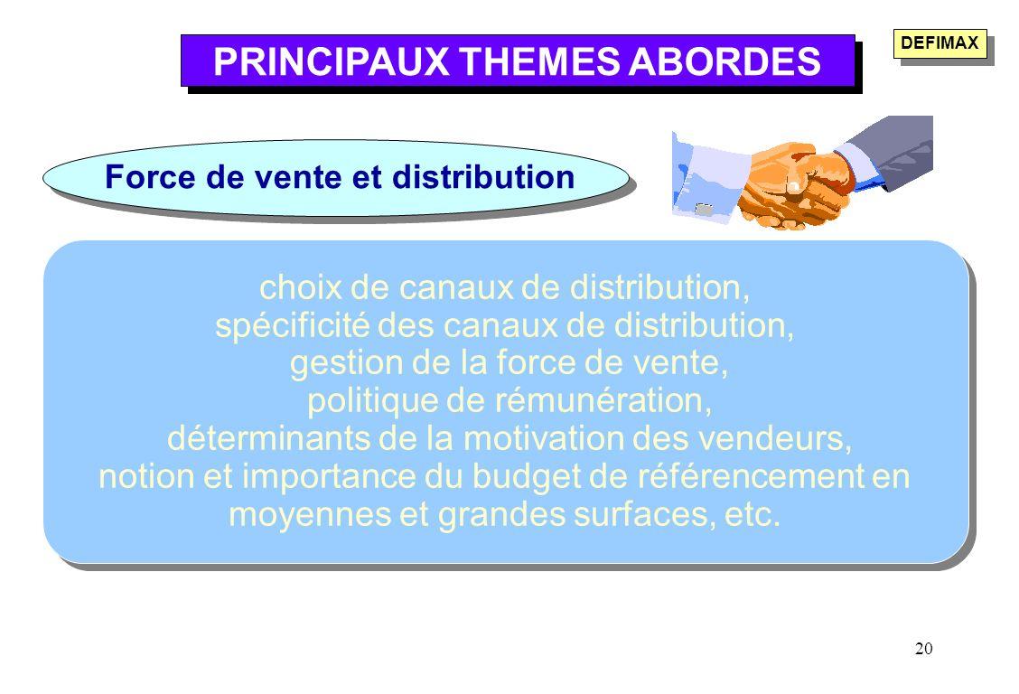 20 choix de canaux de distribution, spécificité des canaux de distribution, gestion de la force de vente, politique de rémunération, déterminants de l
