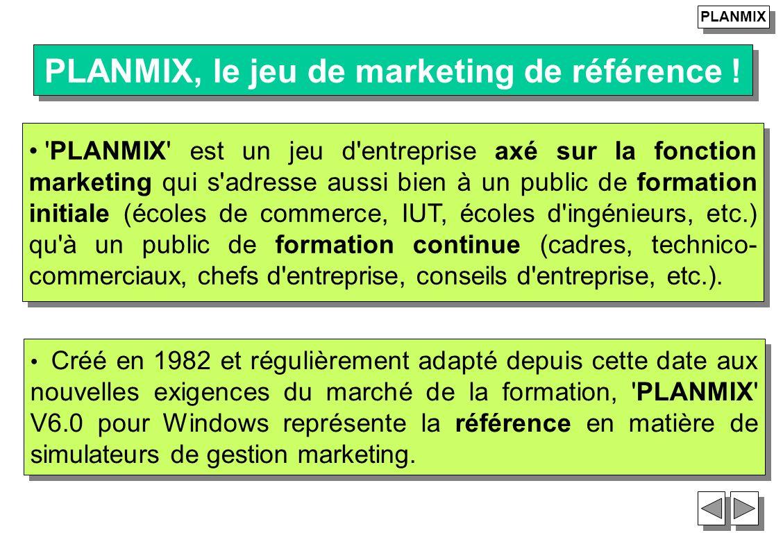 23 Créé en 1982 et régulièrement adapté depuis cette date aux nouvelles exigences du marché de la formation, 'PLANMIX' V6.0 pour Windows représente la