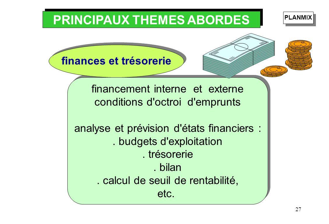 27 financement interne et externe conditions d'octroi d'emprunts analyse et prévision d'états financiers :. budgets d'exploitation. trésorerie. bilan.