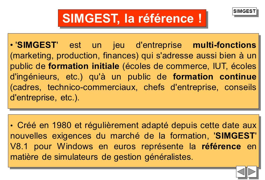32 Créé en 1980 et régulièrement adapté depuis cette date aux nouvelles exigences du marché de la formation, 'SIMGEST' V8.1 pour Windows en euros repr